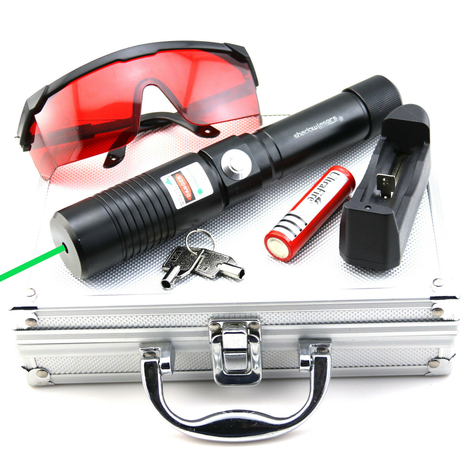 GW1 532nm Green Laser Pointer Adjustable focus Torch Battery&Charger&Goggles
