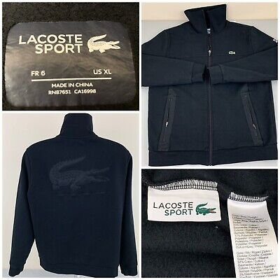 Lacoste Sport Big Logo Djokovic Spell Out Croc Sweatshirt Track Jacket XL -EUC