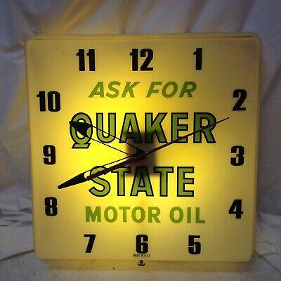 "Vintage Style /""Ask for Quaker State Motor Oil/"" LED  Backlit Advertising Clock"