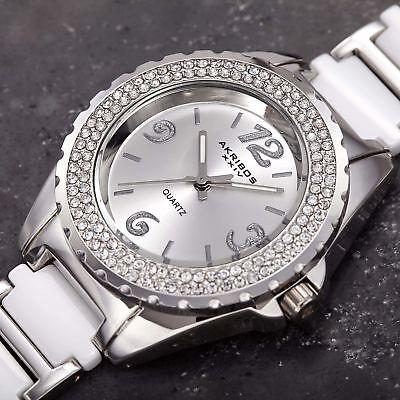 Women's Akribos XXIV AK514WT Quartz Crystal Bezel White Ceramic Bracelet Watch
