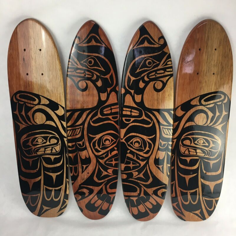 4 x Vintage Native Tribal Art Teak Oak Skateboard Cruiser Deck 70