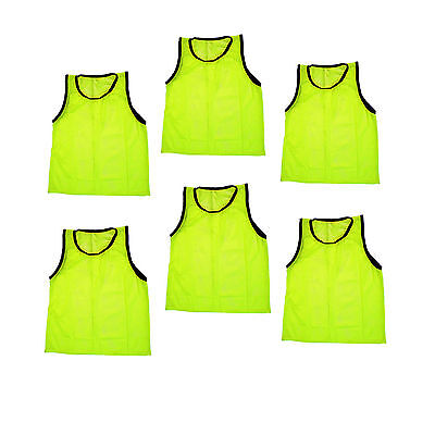 SET of 6 SCRIMMAGE VESTS PINNIES SOCCER ADULT Yellow ~ NEW!