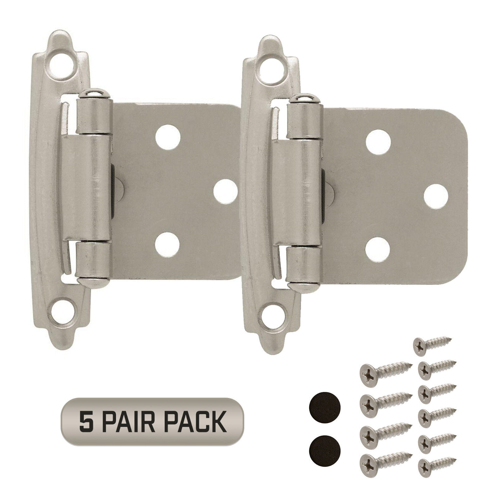 Cabinet Hinges 5 Pair Pack (10 Pcs) Self Closing Face Mount Overlay Satin Nickel Building & Hardware