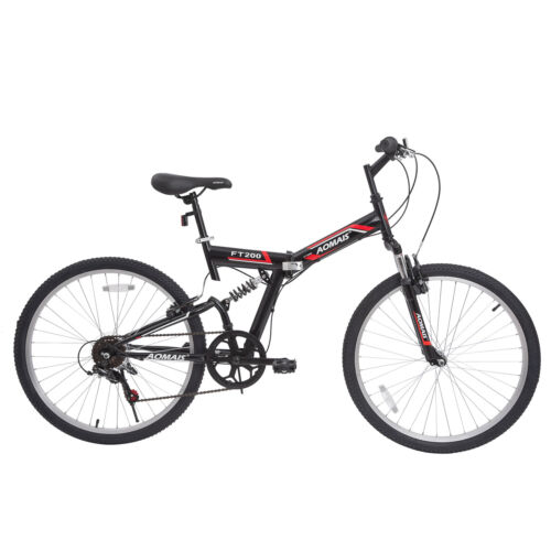 "26"" Mountain Bike Folding Bicycle 7 Speed Shimano Hybrid Sus"