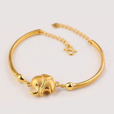 Pure 999 24K Yellow Gold 3D Fashion Lucky Elephant Chain Bangle Bracelet /6.9g