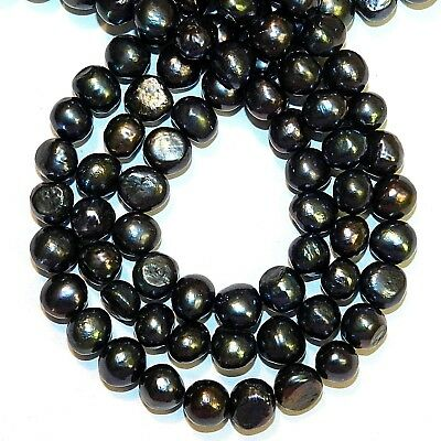 """NP524 Blue-Black Peacock 8mm - 9mm Potato Cultured Freshwater Pearl Beads 14"""""""