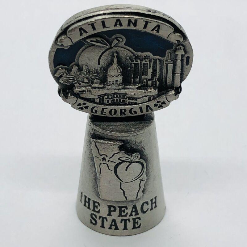 The Peach State Souvenir Pewter Thimble w/ Atlanta Georgia City Skyline Topper