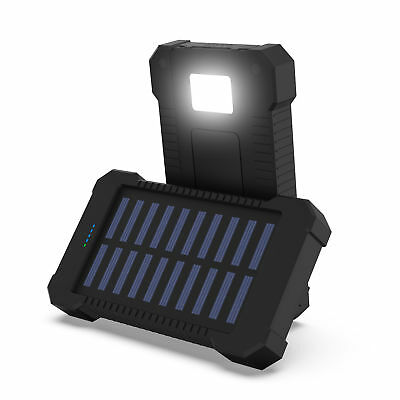 Portable Solar Power Bank 100000Mah Outdoor Backup Charger Compass Hook Led Sos