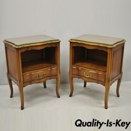 Pair Vtg Cherry Wood French Provincial Nightstand Bedside Tables White Furniture