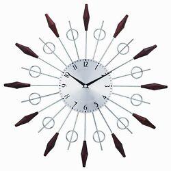 Mid Century Modern Silver Wood Sun Starburst Wall Clock