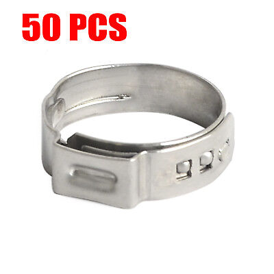 50pcs 58 Pex Clamp Cinch Ring Crimp Pinch Fitting Tool Tubing Stainless Steel