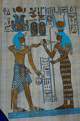 Ägypten Papyrus-Bild 30x40  Pharao und Isis