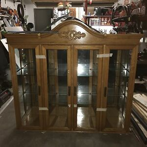 Solid Oak Cabinet or Hutch Top Lights and Mirrored Back