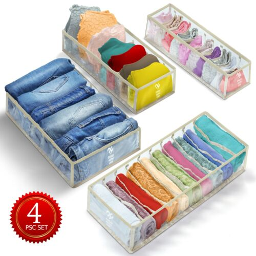 4 PCS Clothes and Underwear organizer for drawers, closet organizers and storage