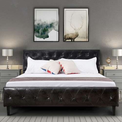 Queen Size Black PU Leather Bed Frame Button Tufted Upholste
