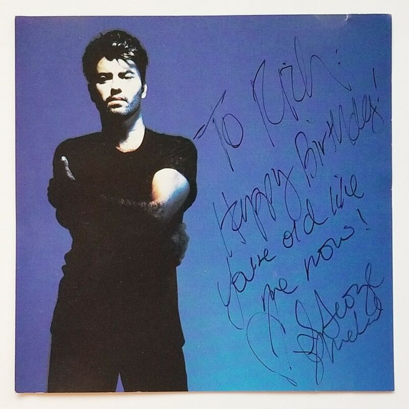 1990 GEORGE MICHAEL Signed Autographed CD FREEDOM FANTASY UK COLUMBIA LABEL EX
