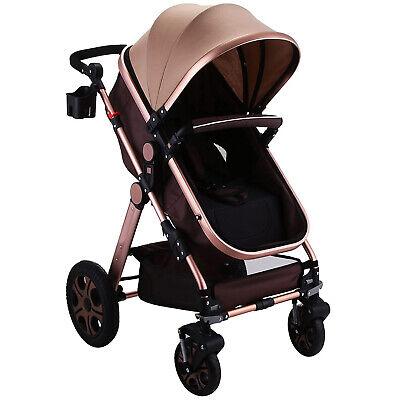 3 in 1 Luxury Foldable Baby Stroller High View Pram Pushchai