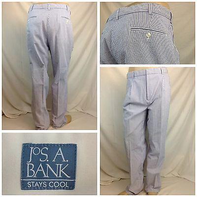 Jos A  Bank Seersucker Pants 34X31  35X32 Tag  Blue Cotton Pleats Mint Re779 Ygi