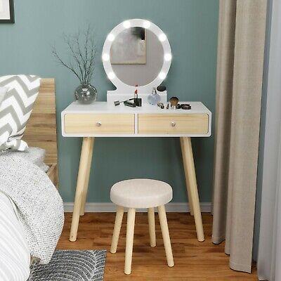 Makeup Vanity Dressing Table Stool Set Round Mirror Dresser with 10 led Lights