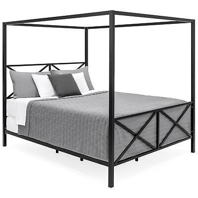 Metallic Modern Bed - BCP Modern Metal Canopy Queen Bed Frame - Black