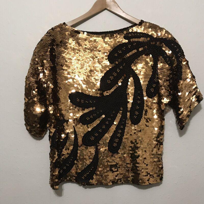 Vintage Oleg Cassini beaded sequin Shirt M sheer gold black big sequins