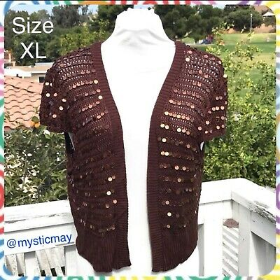 Plus Size Chocolate Brown Sequined Open Cardigan Knit Bolero Sweater Shrug Sz XL Chocolate Brown Cardigan