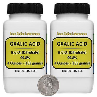 Oxalic Acid C2h2o4 99.8 Acs Grade Powder 8 Oz In Two Space-saver Bottles Usa