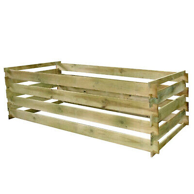 Wooden Slatted Garden Compost Bin Large Wood Composter Recycling Equipment