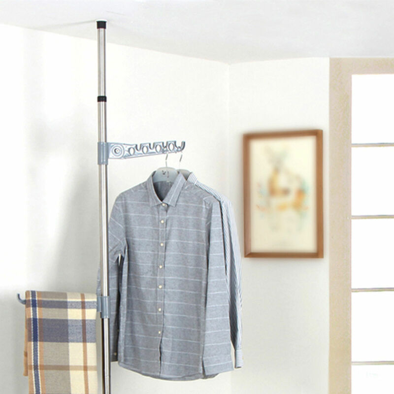 Garment Rack Clothing Clothes Coat Hanging Laundry Drying Rack Adjustable Height