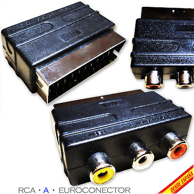 ADAPTADOR EUROCONECTOR A RCA (AUDIO VIDEO) SCART ADAPTER PS3 PS2 PLAYSTATION TV