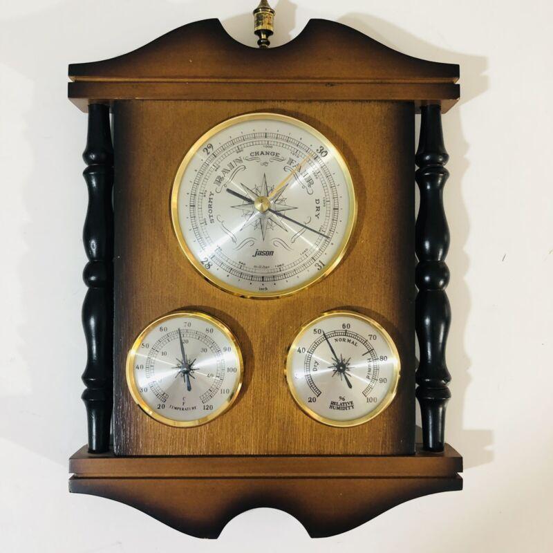 Vintage Jason Wood Weather Station Barometer Temperature Humidity 3 Gauges