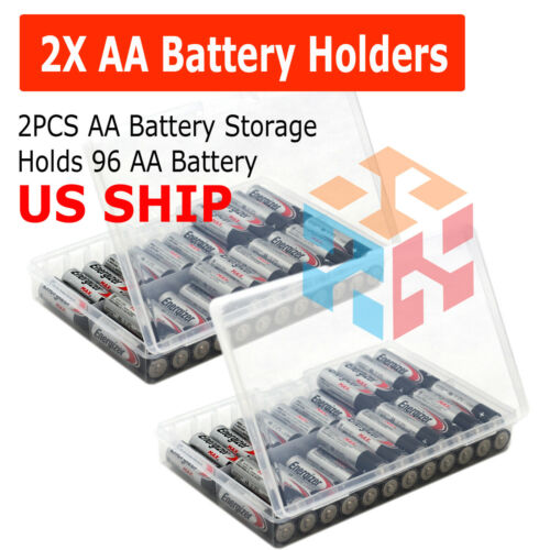 AA Battery Storage Case/Organizer/Holder/Box Clear Plastic For 96 AA 2-Pack