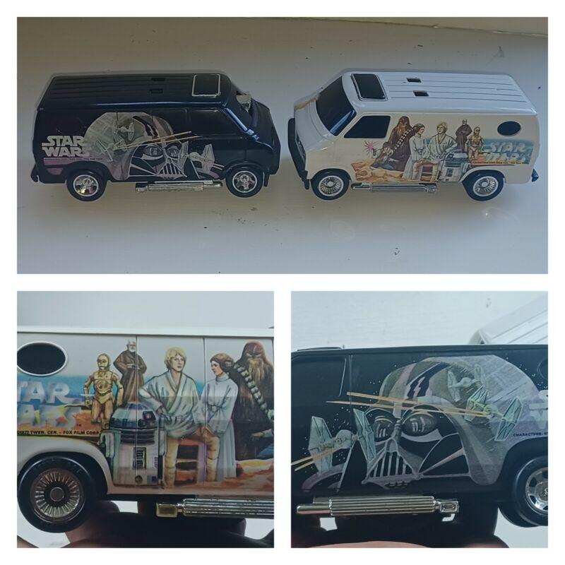 Vintage Star Wars SSP Kenner Lot 2x Black & White Van General Mills 1977