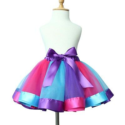 Kids Girls Rainbow Tutu Skirt Tulle Fluffy Princess Dance Dress Party Costume