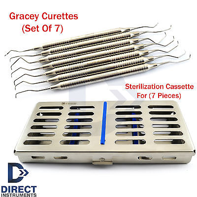 Periodontal Gracey Curettes 7 Pcs Dental Instruments Mesh Tray Cassette Box Kit