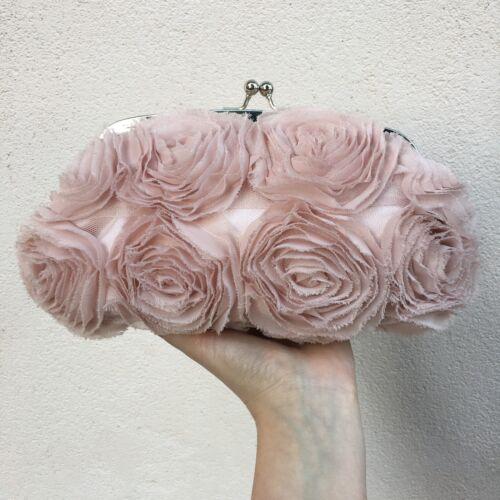 Borsa mano borsetta pochette clutch raso rosa e rose di organza Morgan nuova