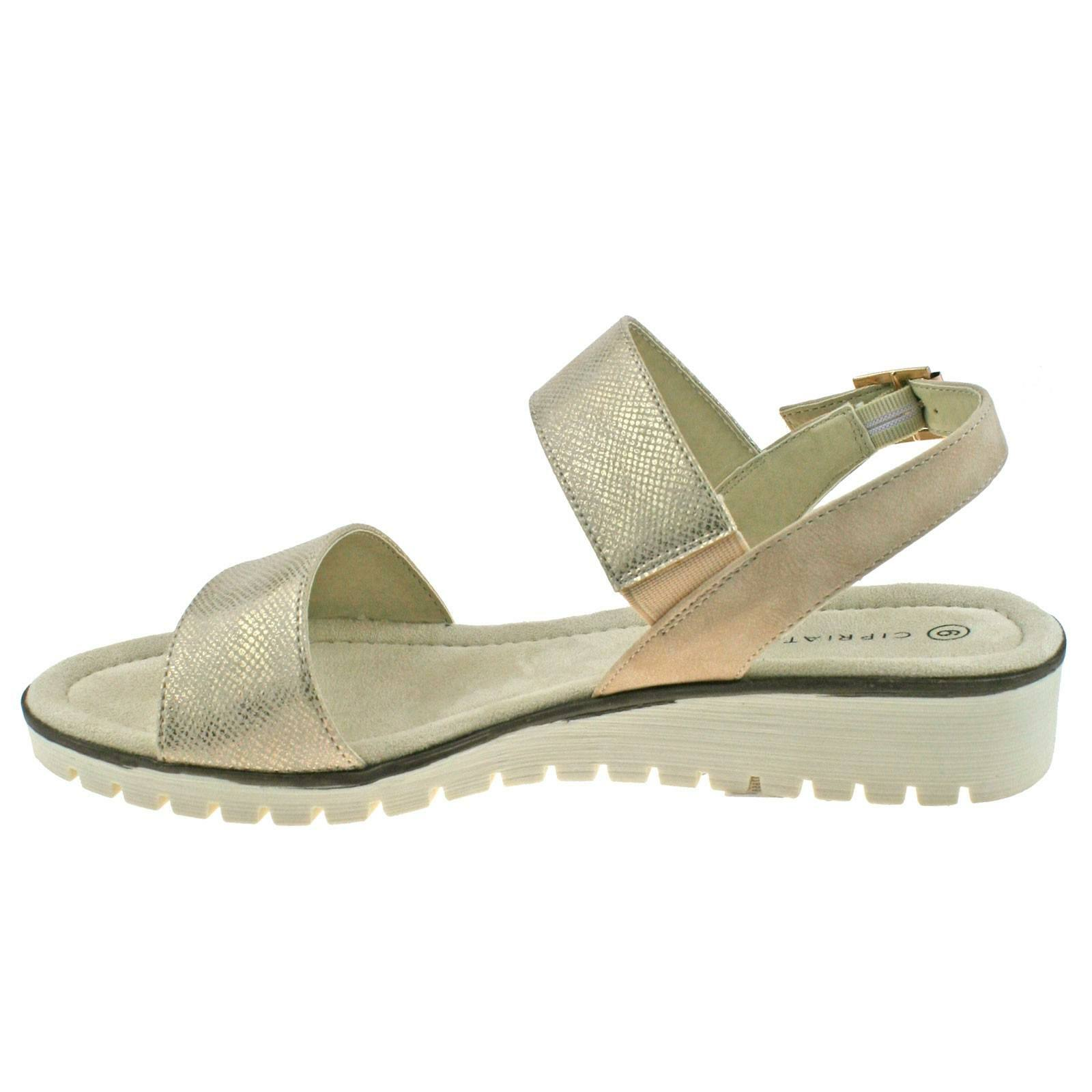 353eea3a73 LADIES CIPRIATA GOLD OR SILVER SHIMMER BUCKLE LOW WEDGE HEELED SANDALS L236  KD