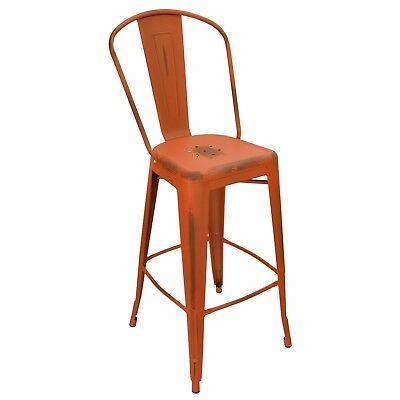 New Oversized Viktor Steel Restaurant Bar Stool With Distressed Orange Finish