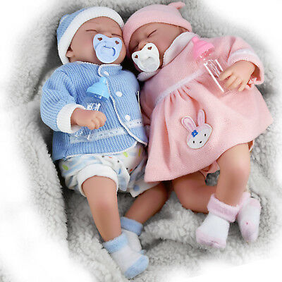 "20"" Realistic Reborn Handmade Sleeping Baby Girl Boy Doll Dummy & Feeding Bottle"