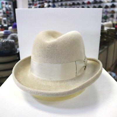 DOBBS HOMBURG BEIGE SOFT VELOUR FUR FELT FEDORA DRESS HAT - Velour Hat