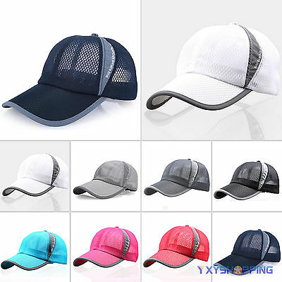 - Mens Womens Mesh Curved Visor Baseball Cap Tennis Golf Sports Snapback Sun Hat