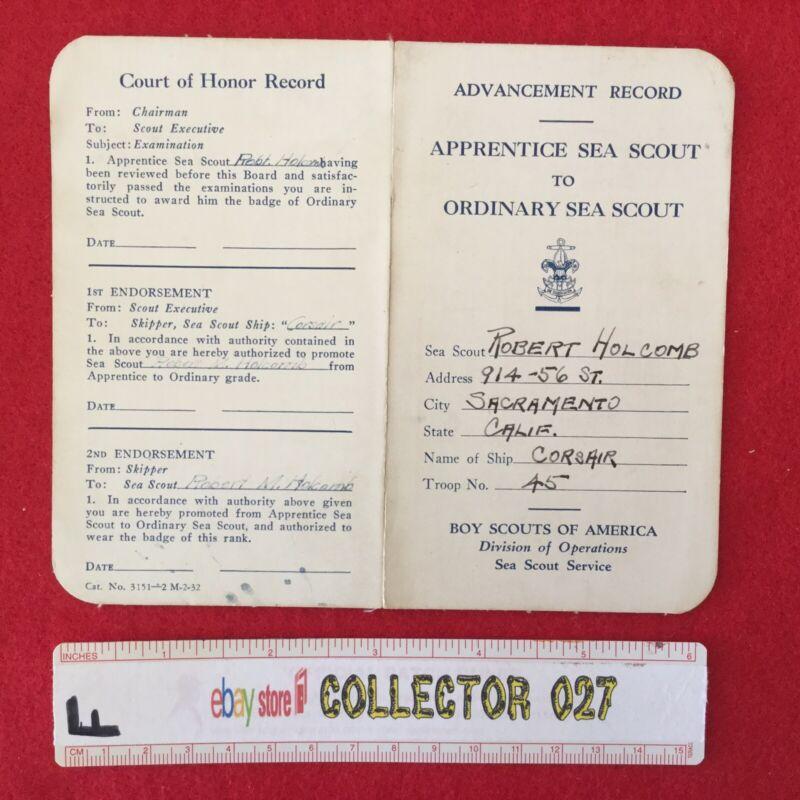 Boy Scout Sea Scout Advancement Record Card 1932 Ship Corsair Sacramento Calif.