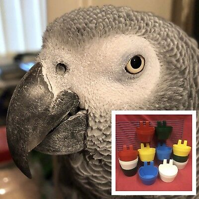 12 x FYNN'S Parrot Clip On Water Food Bowl Plastic Feeder 2 Hook Coop Cup 9.5cm