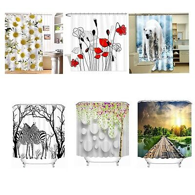 L&N Cloth Shower Curtain Fabric Bathroom Decor Set with Hooks 72*72 Inch