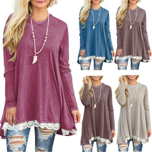 2018 New Womens Long Sleeve Blouse Lace Hem Tunic Loose Tops