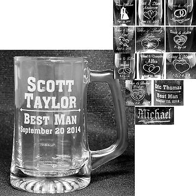 Personalize Glass Mugs Laser Engraved Wedding Gifts Best Man Usher Party Glasses (Usher Glasses)