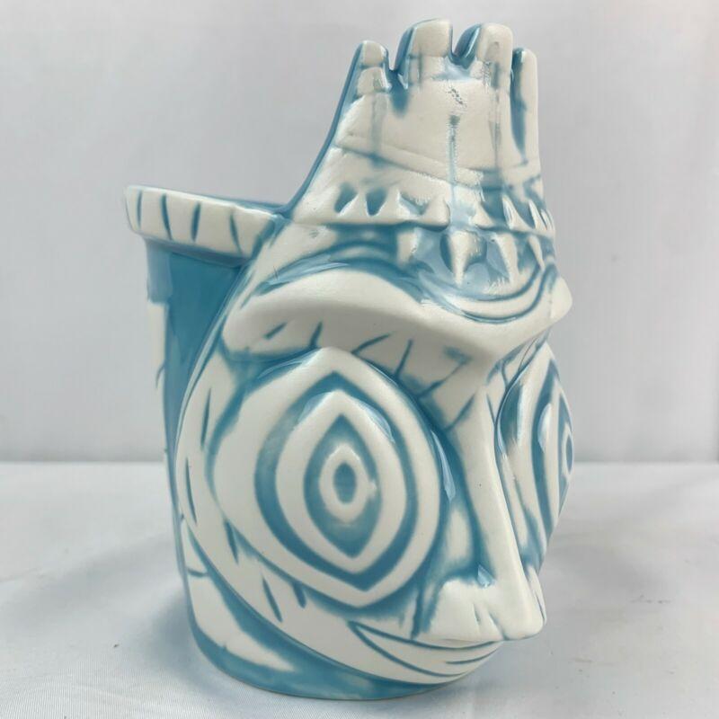 Manu Tiki Mug By B-Rex Brian Rechenmacher Glass Retired Blue HTF