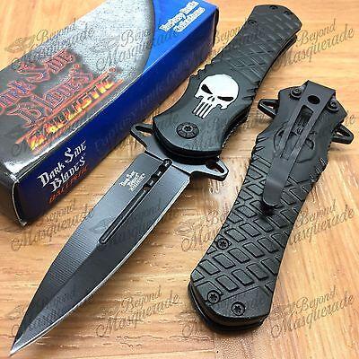 Knife - DARK SIDE BLADES Skull Punisher Black Tactical Rescue Pocket Knife DS-A014BK