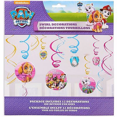 Paw Patrol Girls Swirl Decorations Ceiling Dangler Birthday Party Supplies ~ 12 - Paw Patrol Decorations