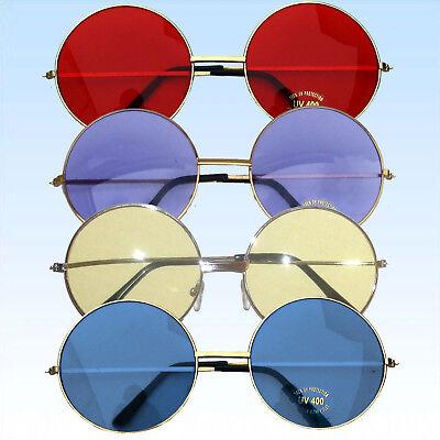 Große Hippie Brille 6cm Durchm 70er Jahre Flower Power Hippiebrille runde Gläser